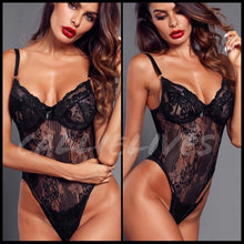 Load image into Gallery viewer, Xena Floral Lingerie: Black Lace Cheeky bodysuit, Lingerie, CallieLives