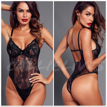 Load image into Gallery viewer, Xena Floral Lingerie: Black Lace Cheeky bodysuit