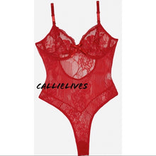 Load image into Gallery viewer, Xena Floral Lingerie: Red Lace Cheeky bodysuit