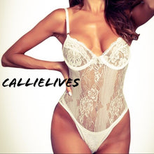 Load image into Gallery viewer, Callie Floral Lingerie: Ivory Lace Cheeky bodysuit