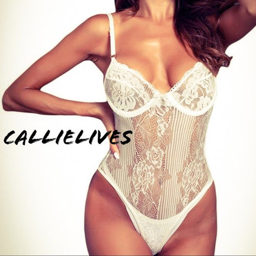 Callie Floral Lingerie: Ivory Lace Cheeky bodysuit
