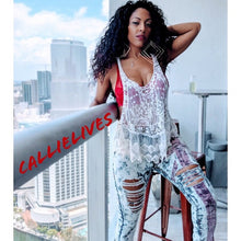 Load image into Gallery viewer, Callie the Great Brit: Distressed Rhinestone Denim Jeans