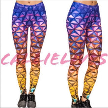 Load image into Gallery viewer, Stasia Gold & Purple Diamond: 3D Graphic Leggings