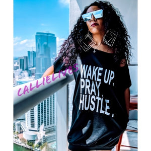 MIZ WAKE PRAY HUSTLE: Custom Cut T-Shirt Dress XL