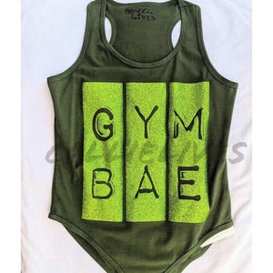 Callie Gym Bae: Workout Leotard Glitter Green S L