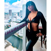 Load image into Gallery viewer, Xena Black Vegan: Crop Top & Zipped Scuba Pant Set