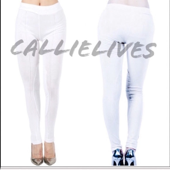 Callie Faux: Suede Patch White Leggings Small