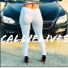 Load image into Gallery viewer, Callie Faux: Suede Patch White Leggings Small