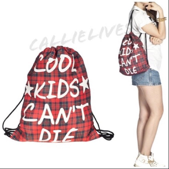 Miz Cool Kids Can't Die Graphic Print Drawstring Bag