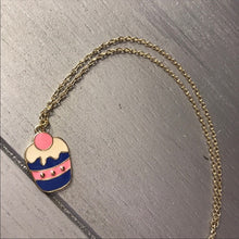 Load image into Gallery viewer, TaTa: Blue Pink Cream Cupcake Charm w Gold Chain