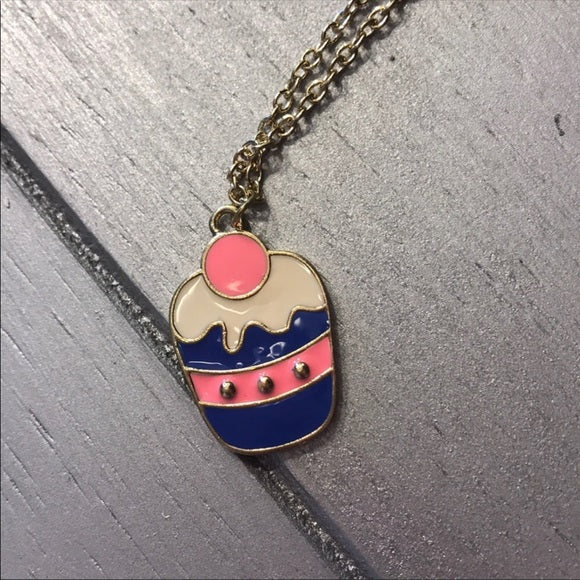 TaTa: Blue Pink Cream Cupcake Charm w Gold Chain
