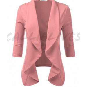 Callie Blushing: Pink Queen's Drape Open Blazer, Jackets and Blazers, CallieLives