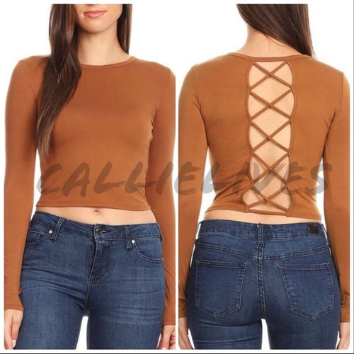 Stasia Crossed & Cut Out Back Long Sleeve Crop Top