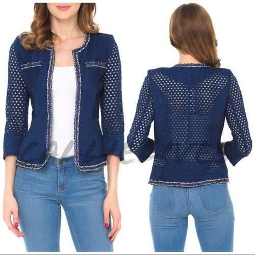 Callie Cropped & Netted: Navy Blue Mesh Blazer, Jackets and Blazers, CallieLives