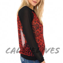 Load image into Gallery viewer, Miz Red Leopard BloodHound Sheer Baseball Top