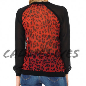 Miz Red Leopard BloodHound Sheer Baseball Top