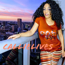 Load image into Gallery viewer, Callie Posh Bae: Rust Orange Floral Foil T-Shirt, Tops, CallieLives