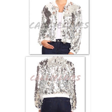 Load image into Gallery viewer, Callie Celebration: Big Sequin White Bomber Jacket