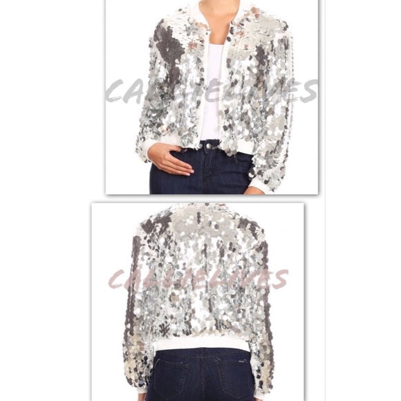 Callie Celebration: Big Sequin White Bomber Jacket