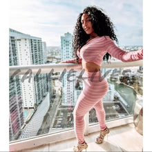 Load image into Gallery viewer, Callie Metallic Rainbow: Pink Crop Top Pant Set