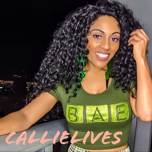 Stasia Bae: Bling Glitter Green Crew Neck Crop Top