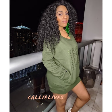 Miz Identaholic Survivor: Green VNeck Sweatshirt Dress
