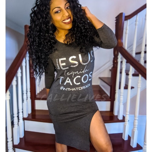 Callie Priorities: Jesus Tequila Tacos Midi Dress