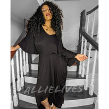 Load image into Gallery viewer, Callie Maxi: Lounge Black Hi Low Hem Mumu Dress