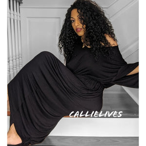 Callie Maxi: Lounge Black Hi Low Hem Mumu Dress
