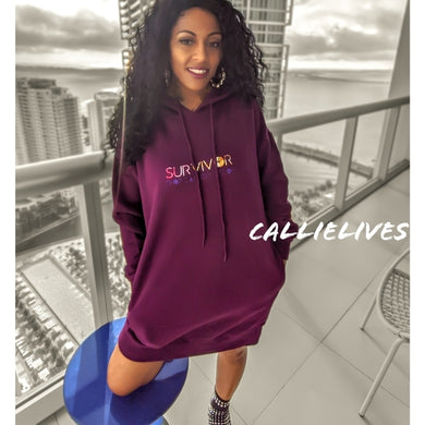 Callie SURVIVOR Floral Foil Oversized Hoodie Dress