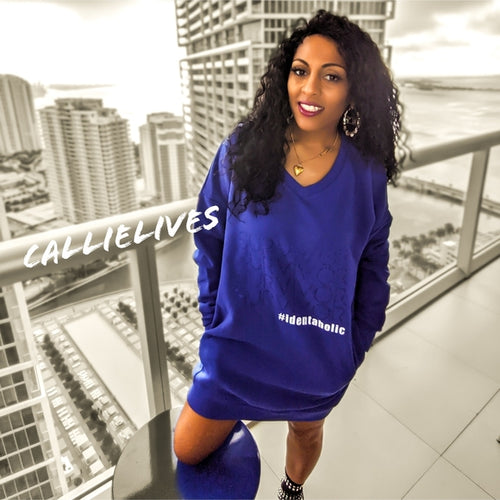 Miz Identaholic Survivor: Blue VNeck Sweatshirt Dress, Dresses, CallieLives