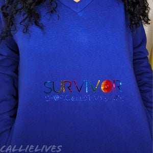 Miz Rainbow: Survivor Foil Blue V-neck Identaholic Sweatshirt