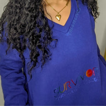 Load image into Gallery viewer, Miz Rainbow: Survivor Foil Blue V-neck Identaholic Sweatshirt