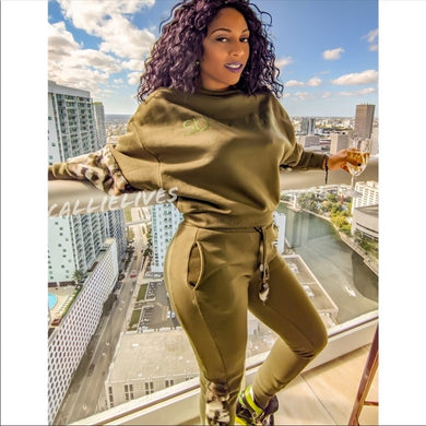 Miz Survivor: Army Green Camo Velour 2pc Sweatsuit