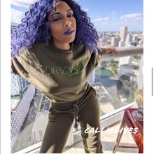 Load image into Gallery viewer, Miz Survivor: Army Green Camo Velour Identaholic Sweatsuit Set