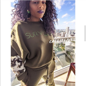 Miz Survivor: Army Green Camo Velour Identaholic Sweatsuit Set