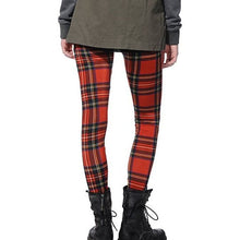 Load image into Gallery viewer, Miz Oxford: Plaid Red & Black Cotton Poly Leggings