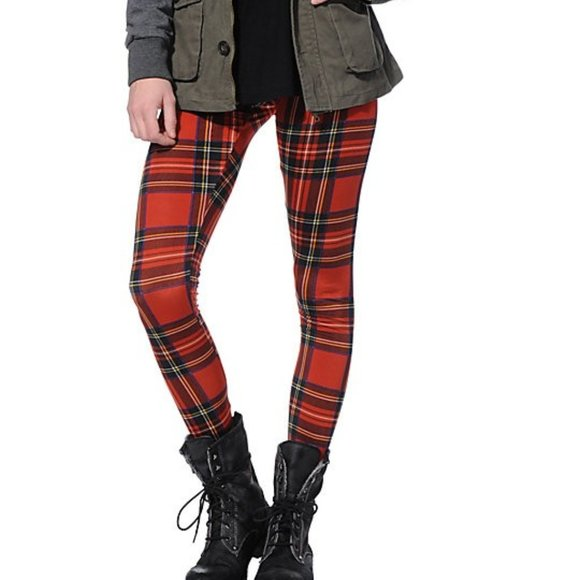 Miz Oxford: Plaid Red & Black Cotton Poly Leggings