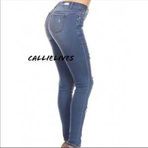 Callie Denim: Embroidered Slim Stretch Jeans 11 13