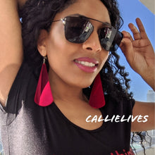 Load image into Gallery viewer, Callie Red Teardrop: Acrylic Mirror Hook Earrings