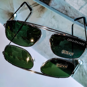 Miz Black Sunnies: Green Tint Sunglasses Shades