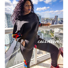 Load image into Gallery viewer, Callie Survivor: Red Camo Velour Black Identaholic Sweatsuit