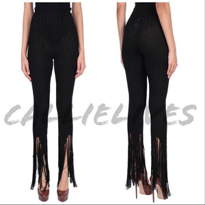 Callie Knitted: Moschino Flare Fringe Ankle Pants