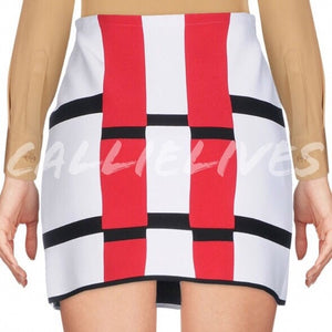 Callie ALAÏA ColorBlock Grid Rectangle Mini Skirt