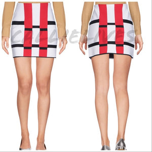 Callie ALAÏA ColorBlock Grid Rectangle Mini Skirt, Shorts and Skirts, CallieLives