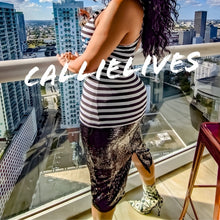 Load image into Gallery viewer, Callie Prosecco: Glitter Bae Jail Stripe Tank Top