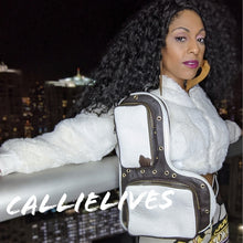 Load image into Gallery viewer, Callie Cowhide: Leather Brown White Messenger Bag