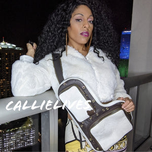 Callie Cowhide: Leather Brown White Messenger Bag