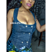 Load image into Gallery viewer, Callie Bustier: Button Denim Rhinestone Racerback