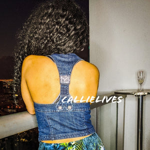 Callie Bustier: Button Denim Rhinestone Racerback
